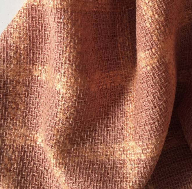 Rideau voilage tissu au metre laine cuivré