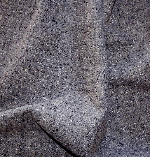 Drap de laine tweed gris chiné noir, vestes