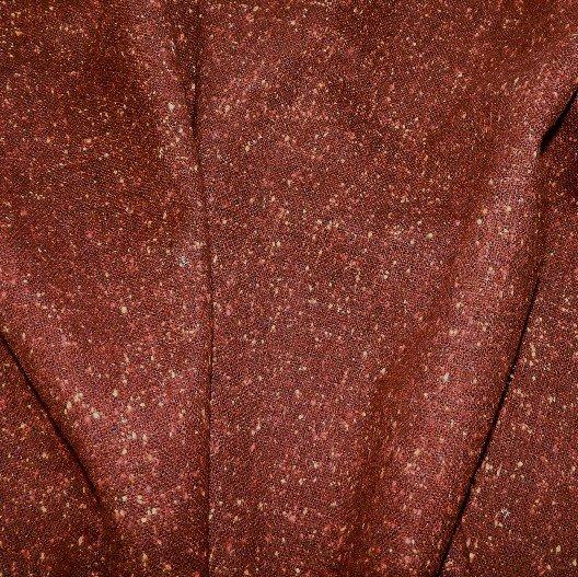 issu tweed de laine tradition marron effet chiné jaune