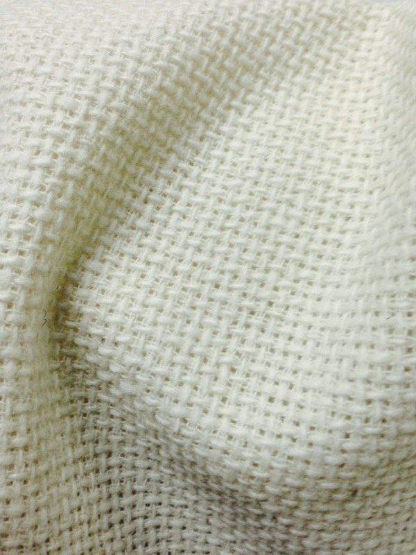 Tissu tweed de laine écru