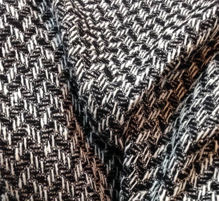 Tissu tweed de laine noir et blanc