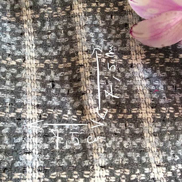 Tissu tweed gris et bleu