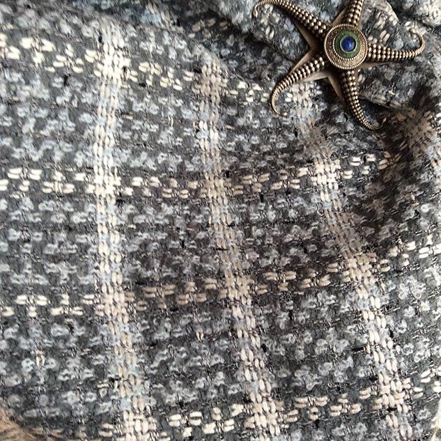 Tissu tweed gris bleu blanc