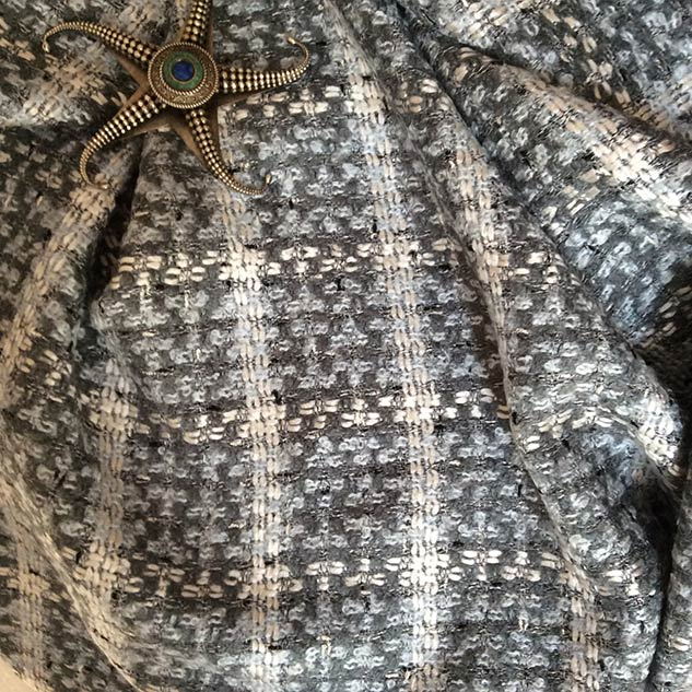 Tissu tweed gris bleu