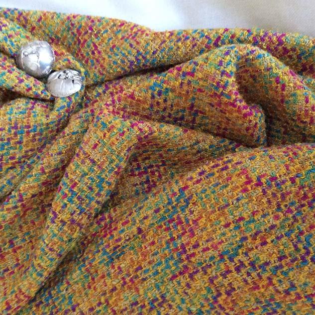 Tissu tweed jaune pour veste