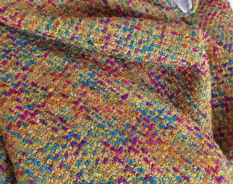 Tissu jaune et multicolore cardailhac