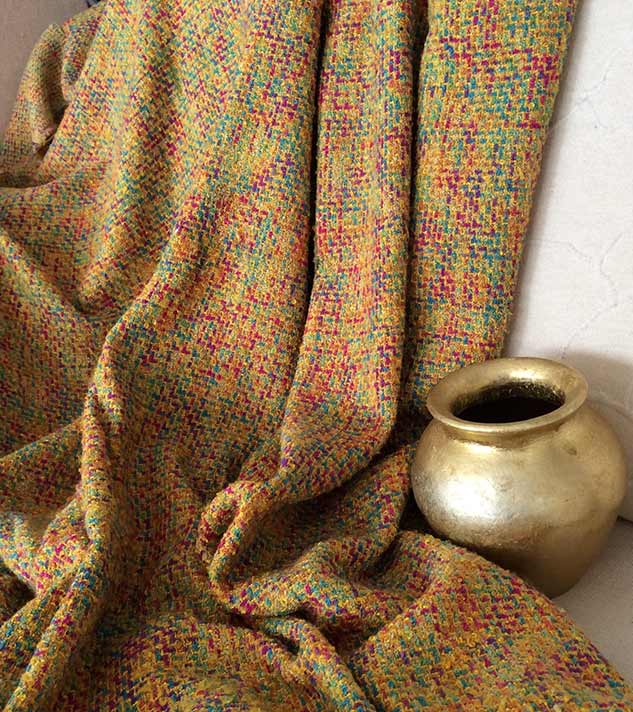 Tissu tweed jaune