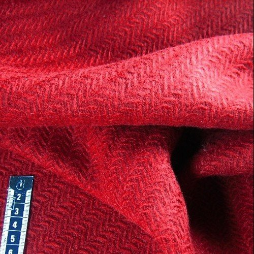 Tissu ameublement tweed laine relief rouge
