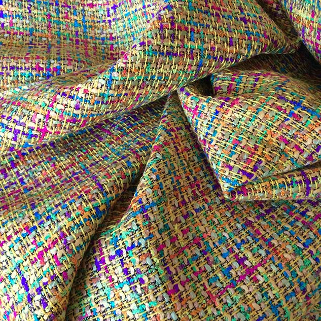 Tissu tweed au mètre coloré