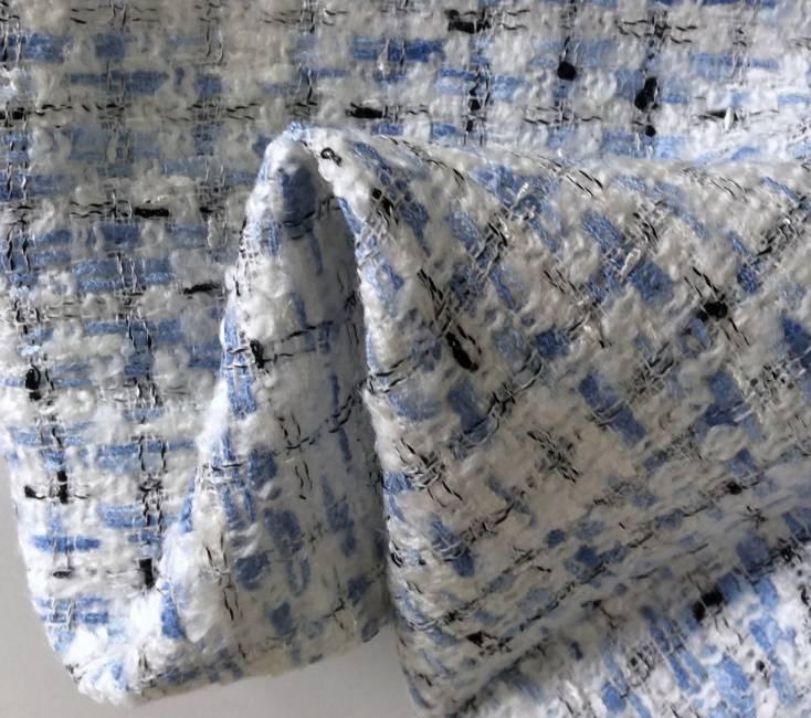 Tissu tweed carreaux bleu et blanc