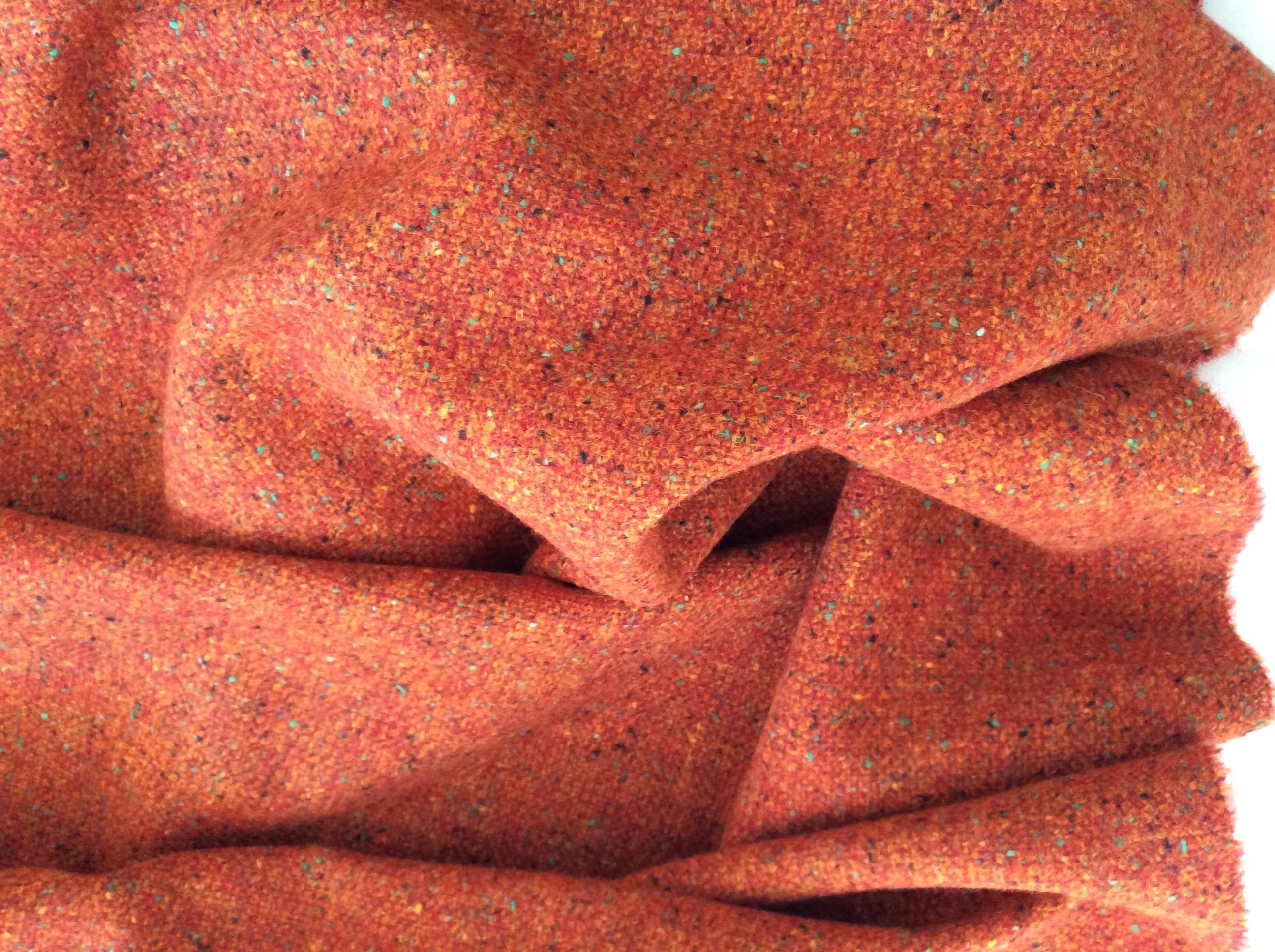 tissu tweed orange effet chiné