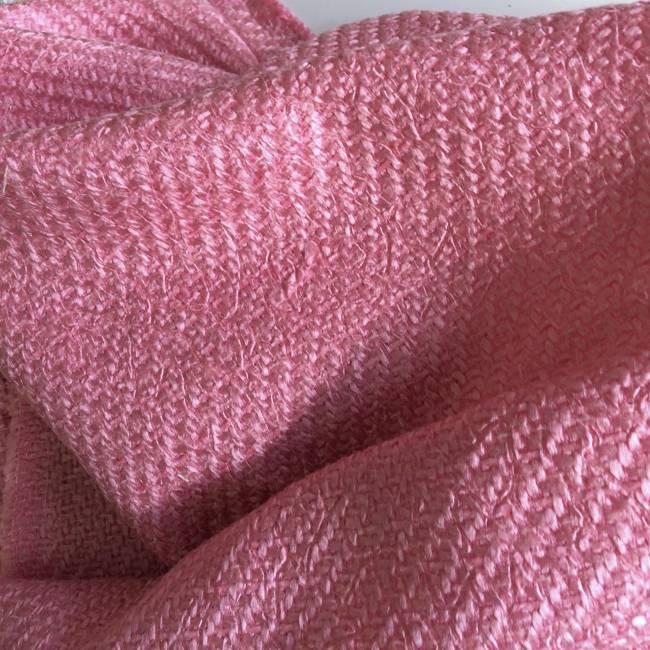 Tissu tweed rose acidulé