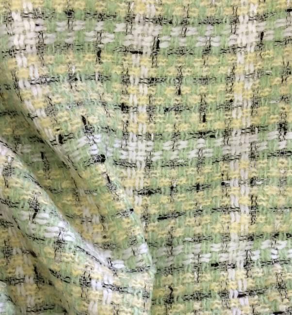 Tissu tweed vert et jaune pastel