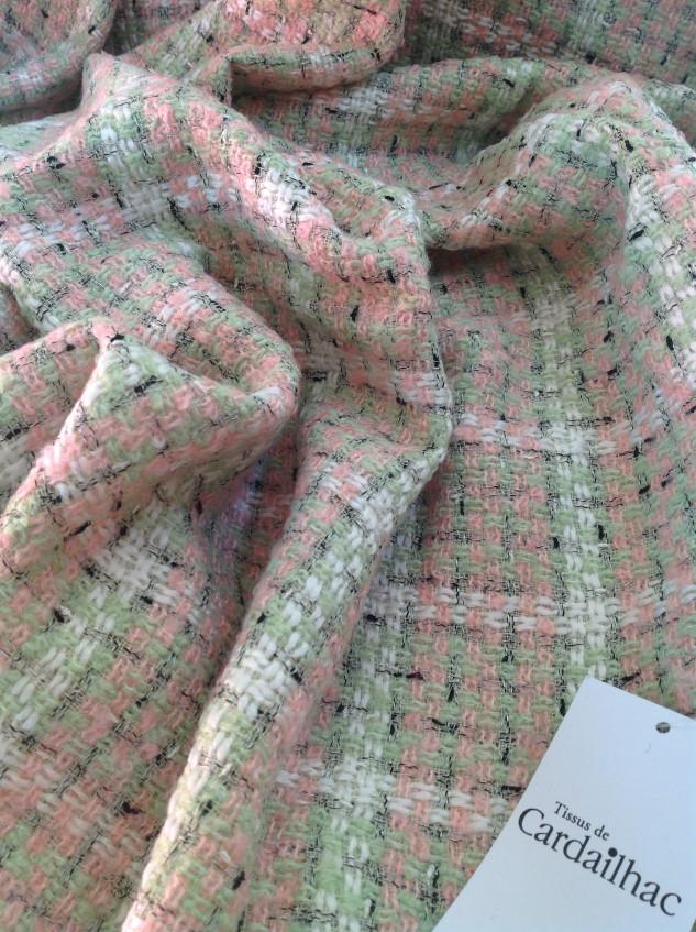 tissu tweed coloré rose et vert