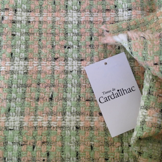 tissu rideau carreaux rose, vert blanc
