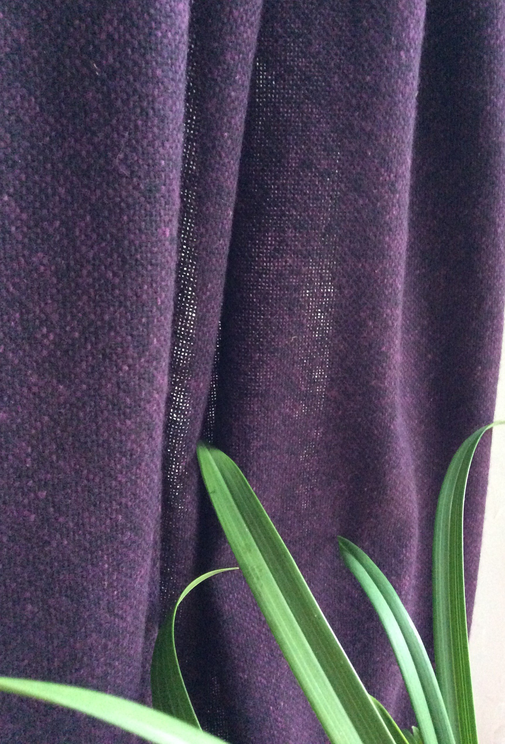 Rideau au metre tissu tweed laine donegal aubergine