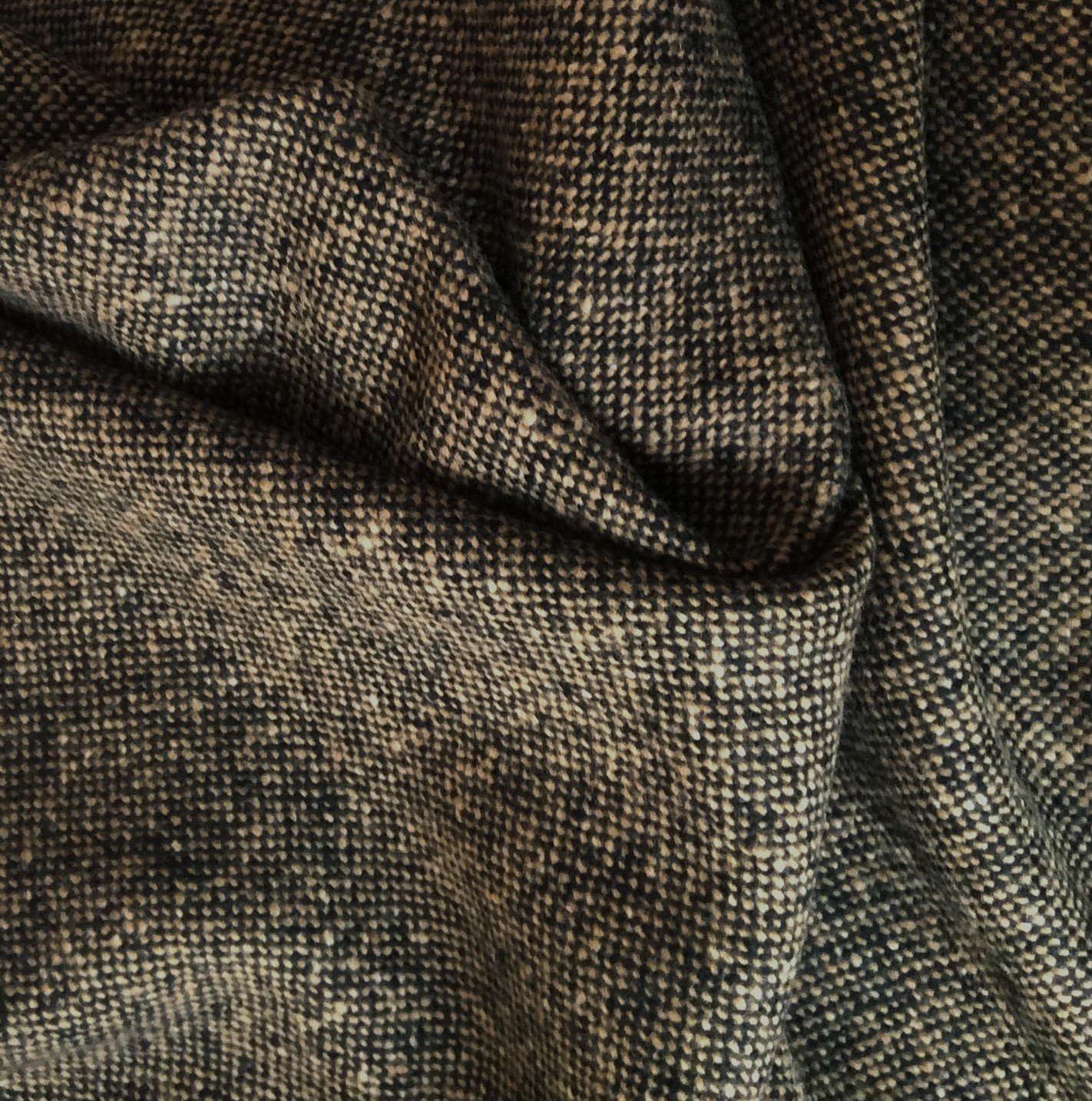 Tissu tweed laine bicolore noir camel