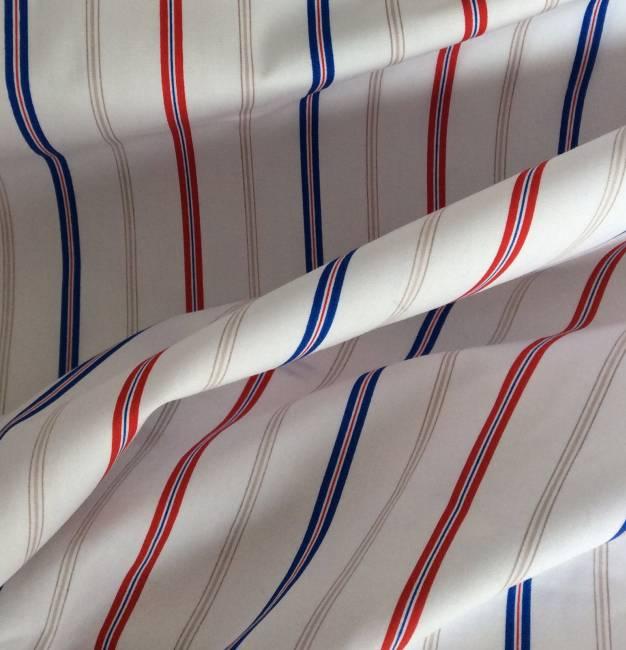 Tissu coton popeline blanc à rayure