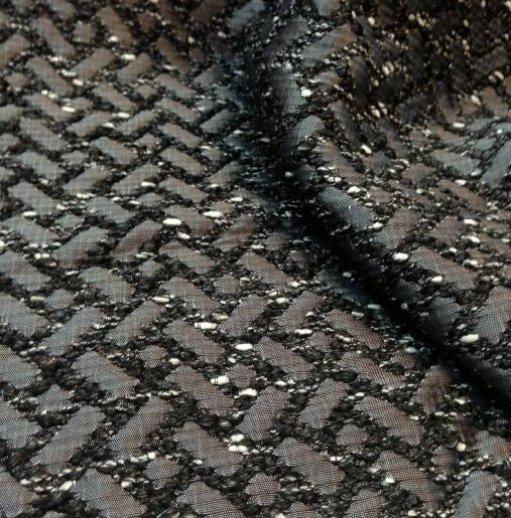 Tissu tweed gris et noir