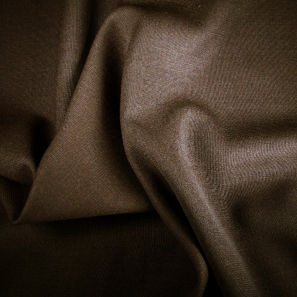 Tissu polyester laine marron double crepe