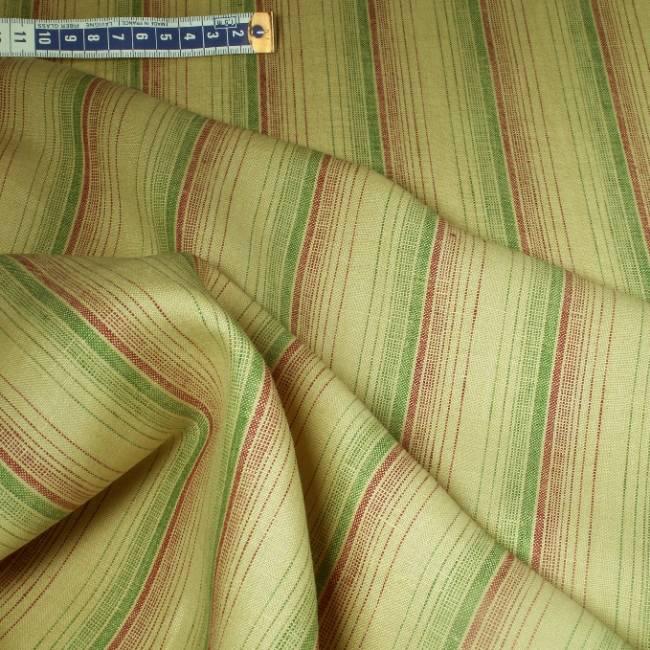 Tissu en lin beige rayures et rouge