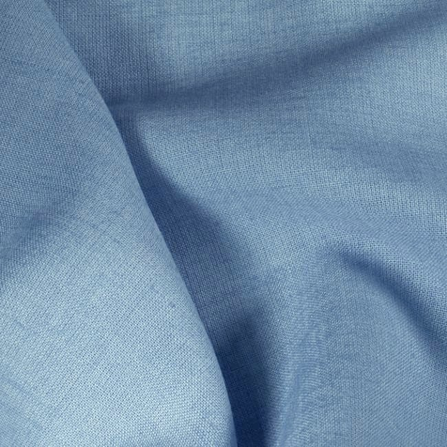 Tissu en lin et polyester bleu