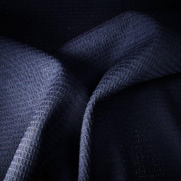 Tissu polyester laine nid d'abeilles marine