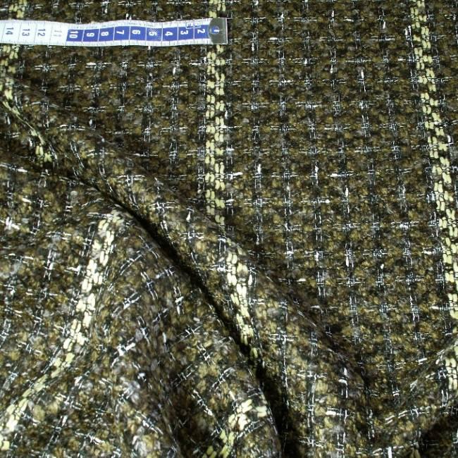 Tissu tweed marron avec rayures