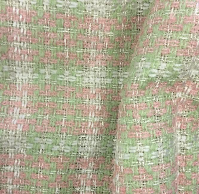 Tissu tweed rose et vert