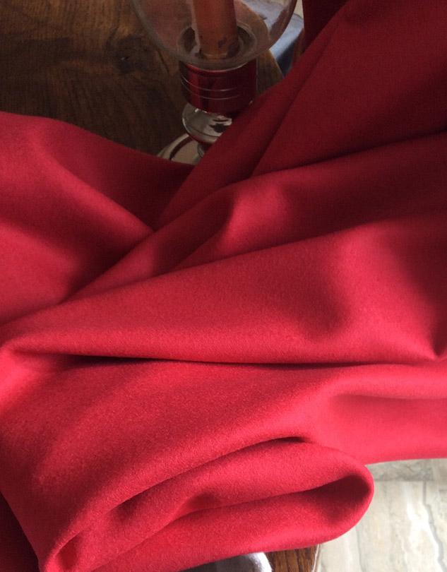 Tissu flanelle laine rouge grenadine