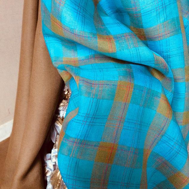tissu turquoise écossais cardailhac