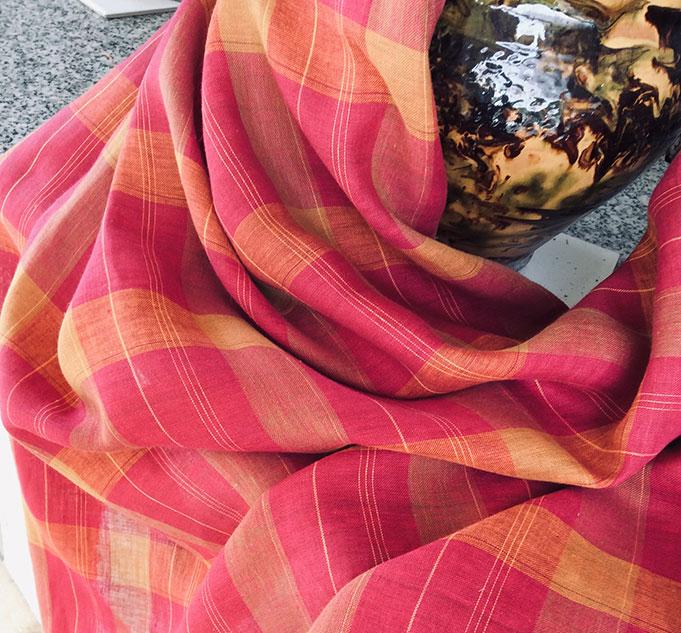 tissu carreaux rose et orange