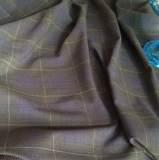 Tissu polyester laine gris et kaki