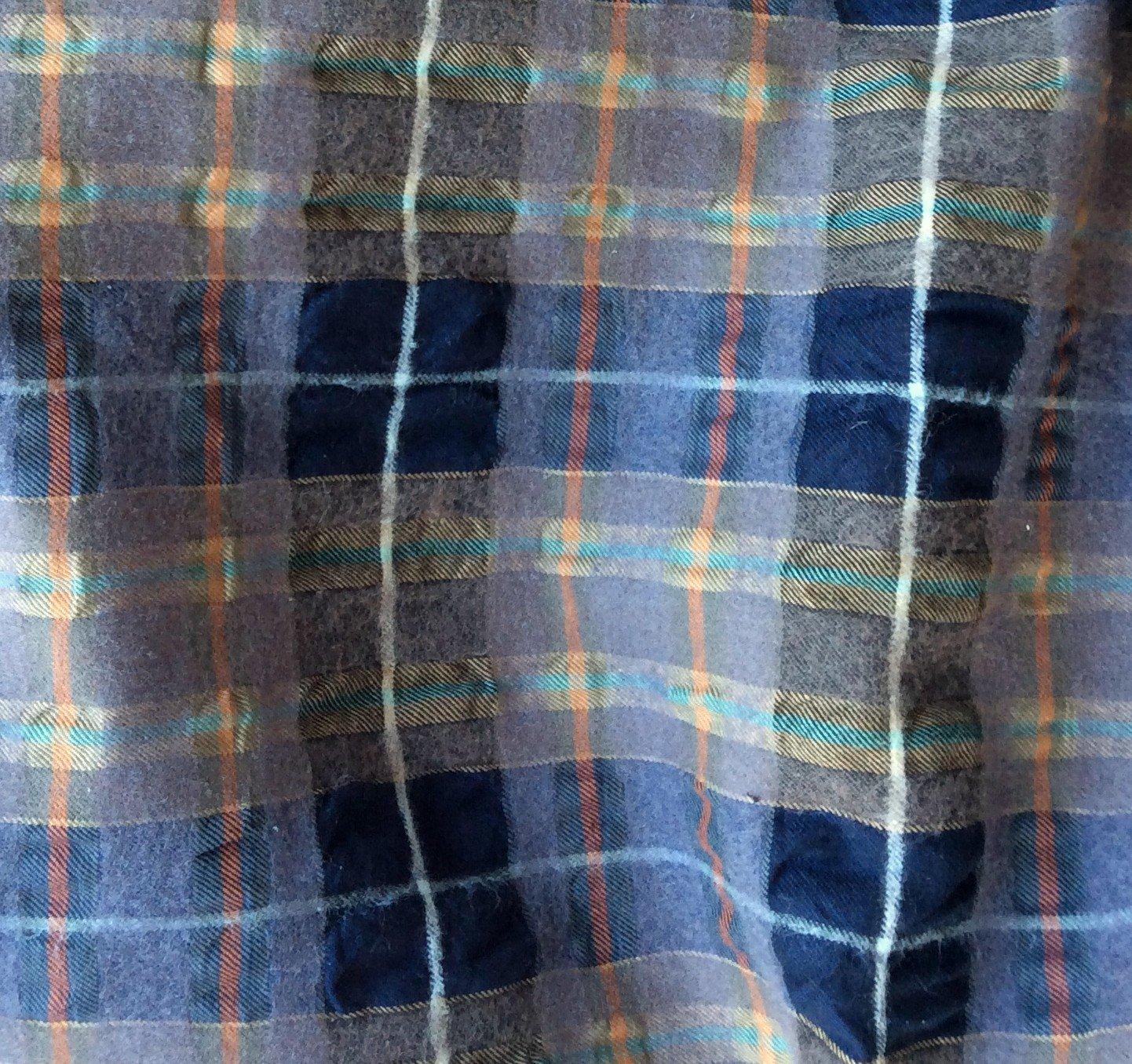 Tissus ecossais marine gris orange cloqué