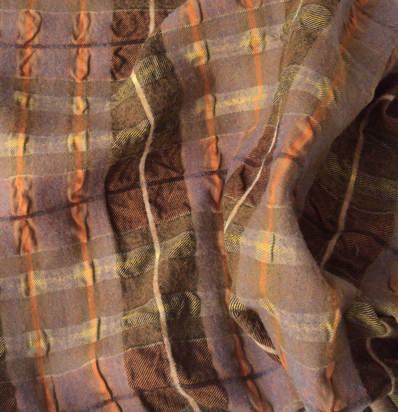 Tissu ecossais marron cuivré cloqué