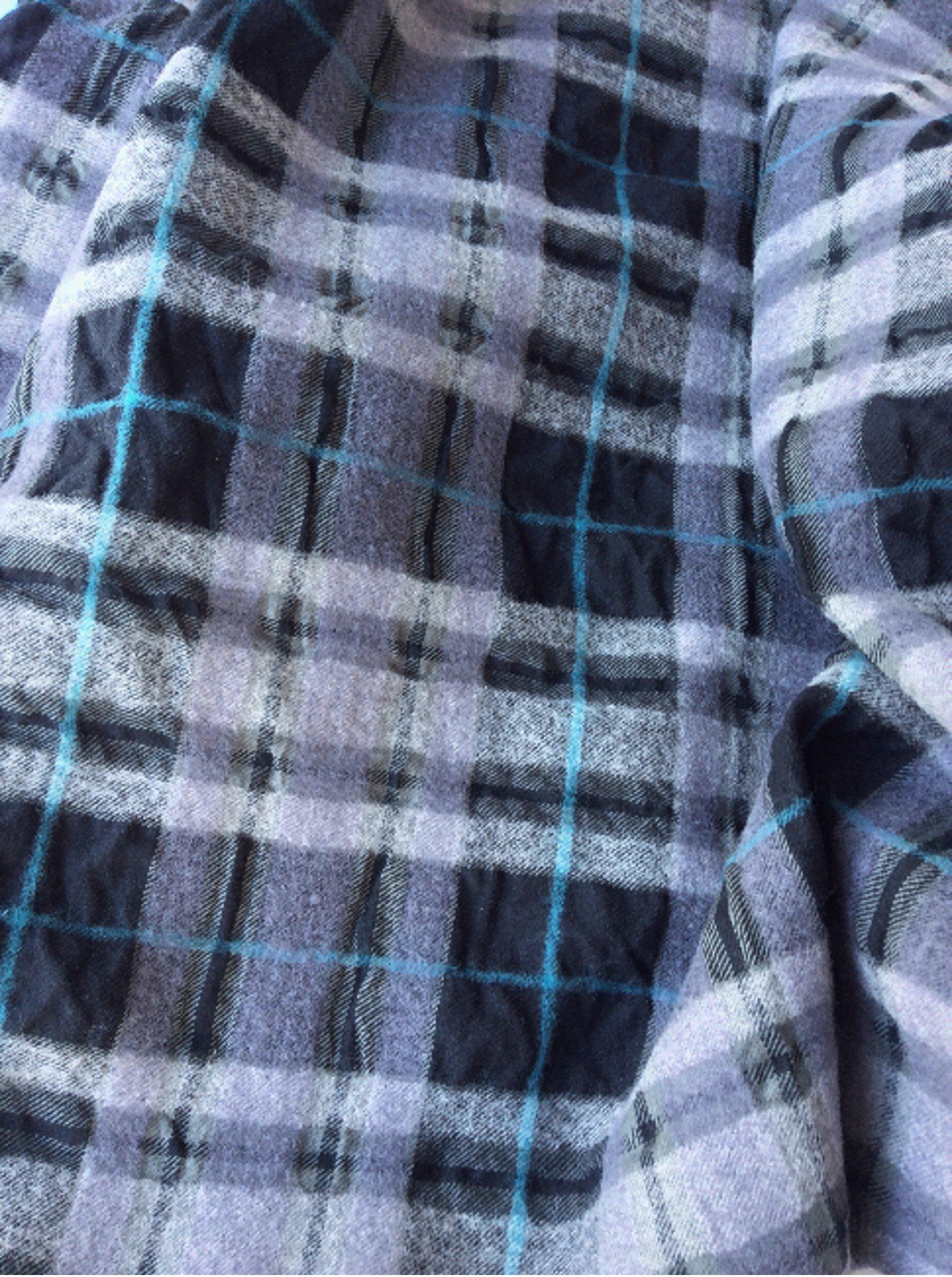 Tissu ecossais noir gris turquoise cloqué