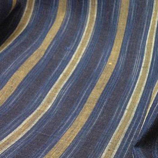 Toile de lin rayures bleu jean