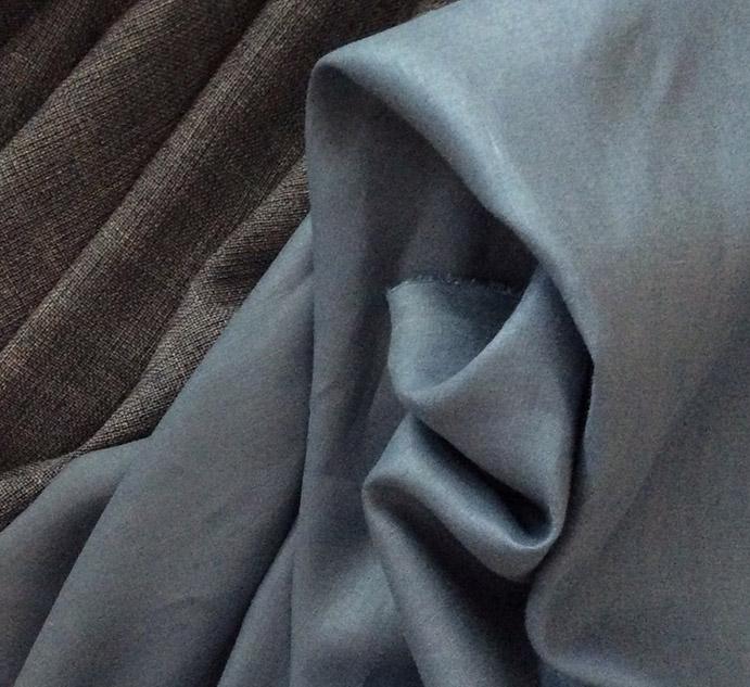 Tissu toile de lin bleu