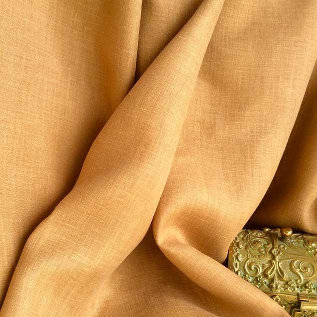 Tissu toile de lin jaune moutarde foncé