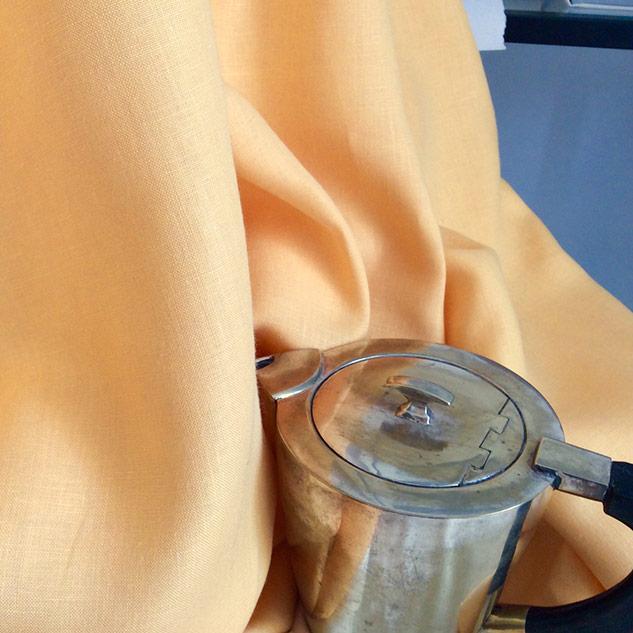 Tissu toile de lin jaune