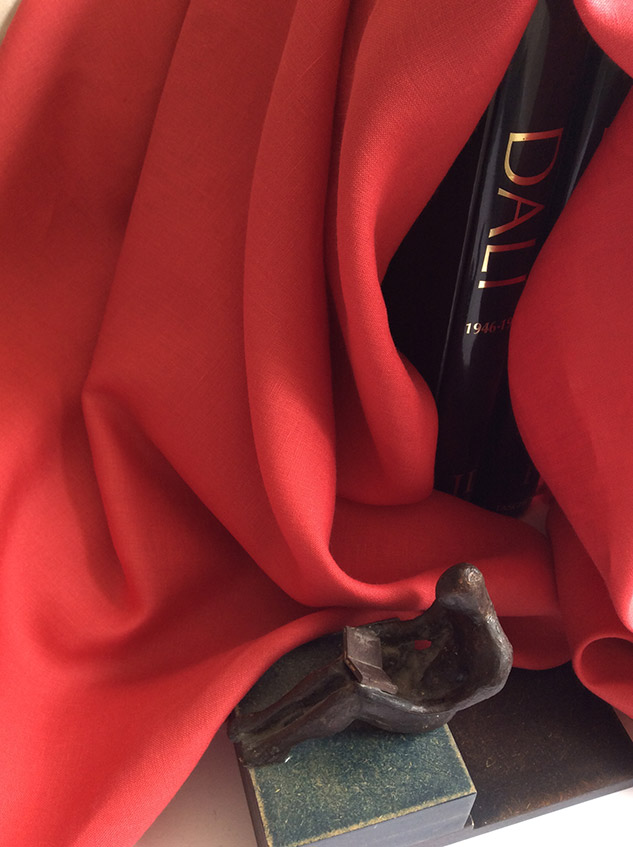 toile de lin rouge rubis
