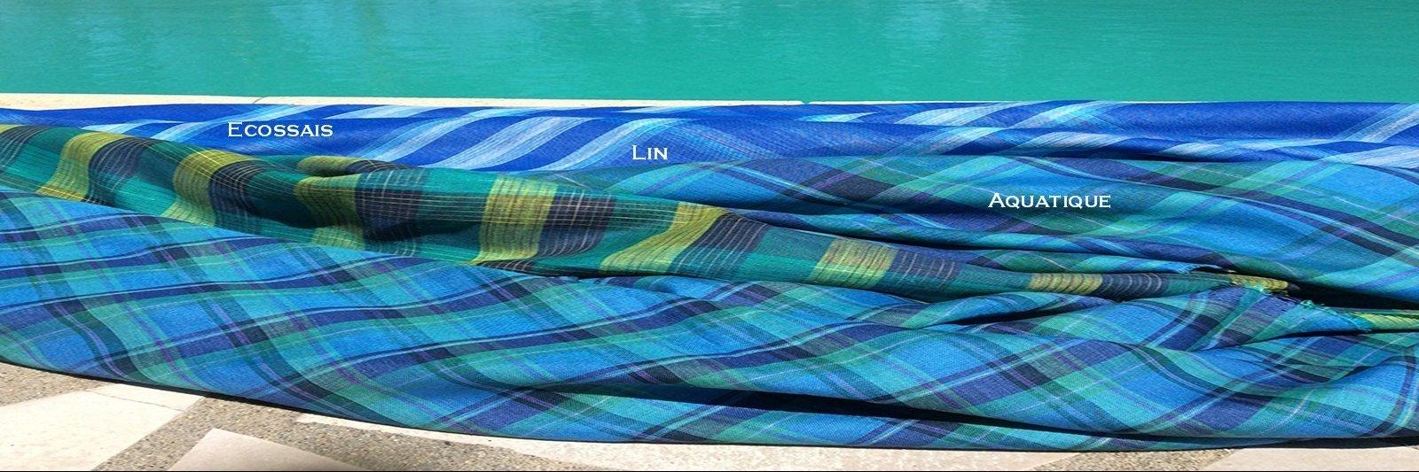Ecossais Lin Aquatique, tissus au metre