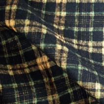 Tissu flanelle de laine tartan noir et orange