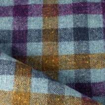 Tissu laine à carreaux bleu