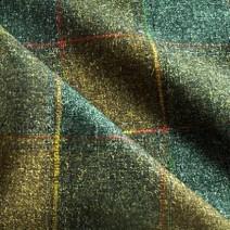 Tissu de laine à carreaux kaki