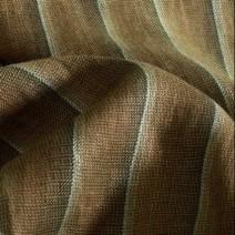 Tissu lin brun à rayures