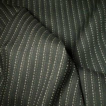 Tissu lin rayures tennis noir