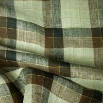 Tissu écossais en lin beige et marron