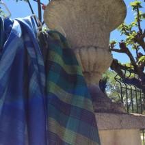 Tissu lin écossais en lin bleu