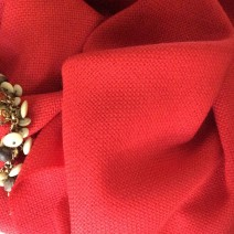 Tissu laine tweed rouge